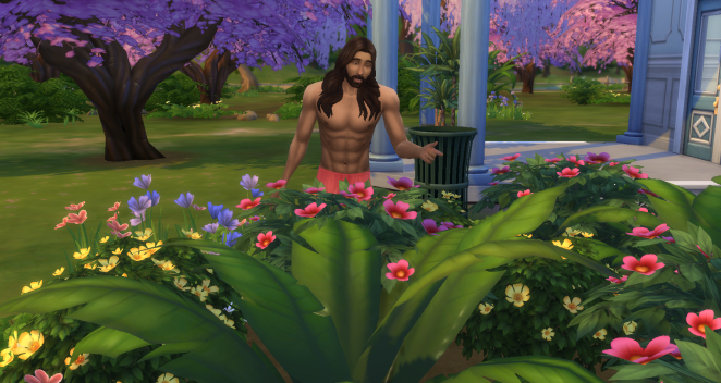 mowgli is chatting with the flowers they remind him of his home.png